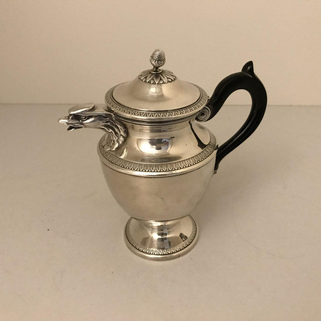 Zilveren koffiekannetje met ebbenhouten handvat, Nederlands, eind 19e eeuw