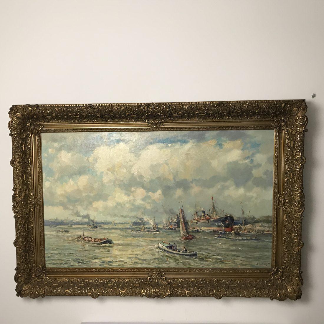 Zeehaven gezicht met personen, Evert  Moll ( 1878-1955)