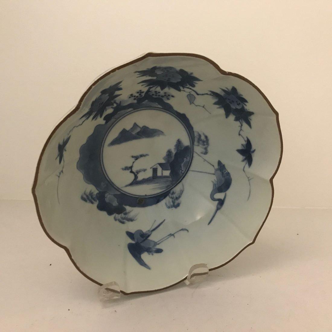 Blauw wit porseleinen kom, Japan, 19e eeuw