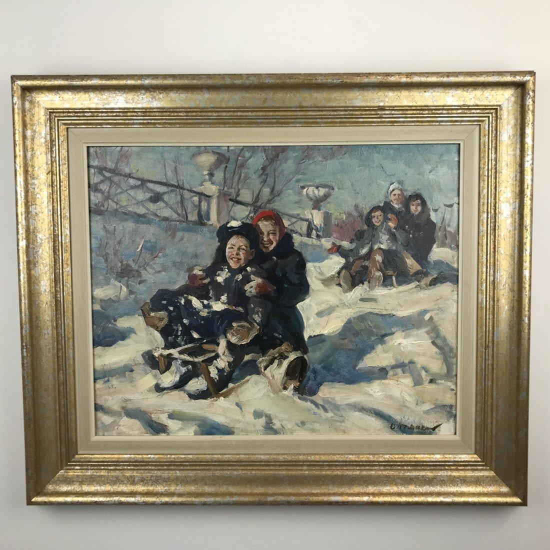 Kinderen op de slee, olieverf op doek, 20e eeuw, Russisch