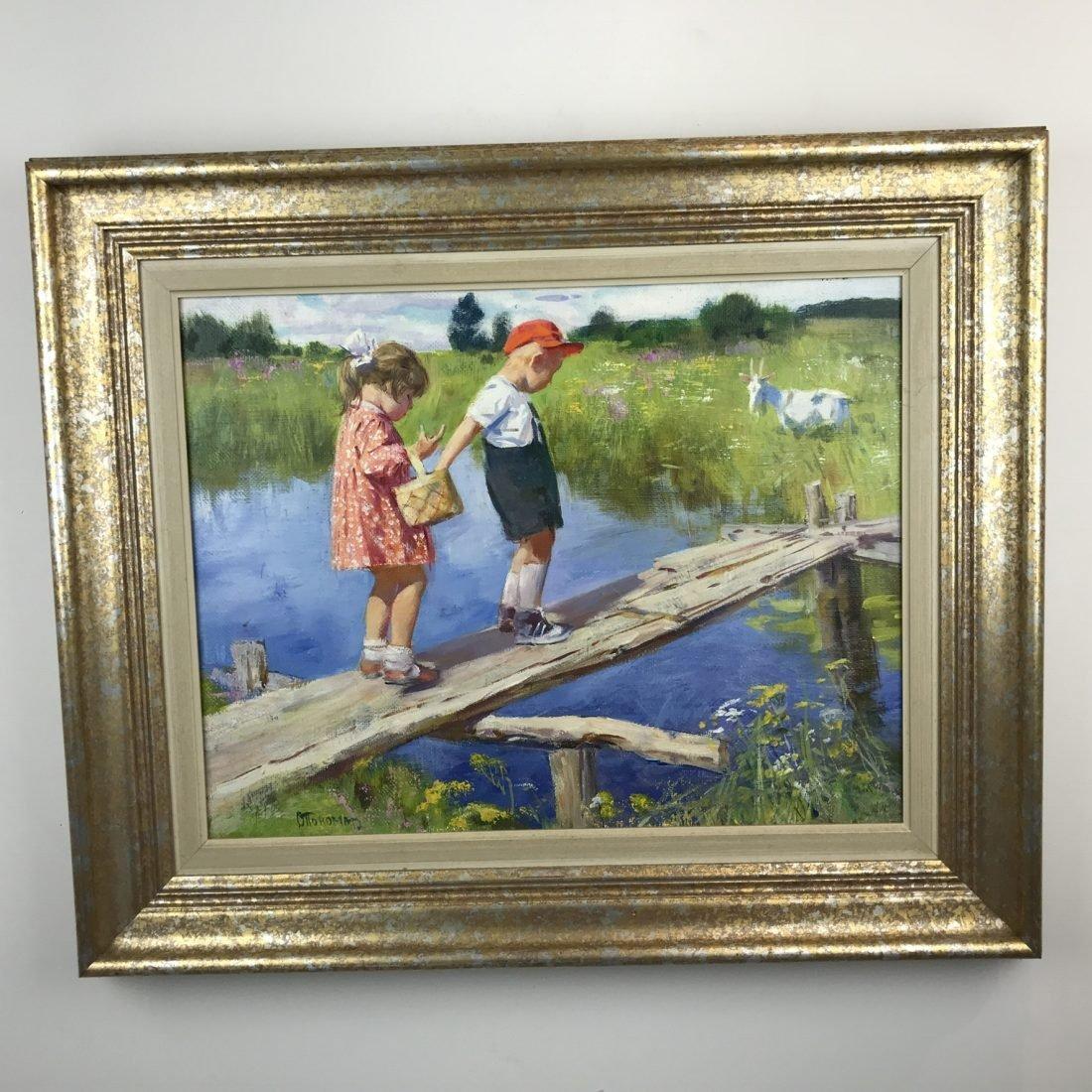 Kinderen bij het water, olieverf op doek, 20e eeuw, Russische