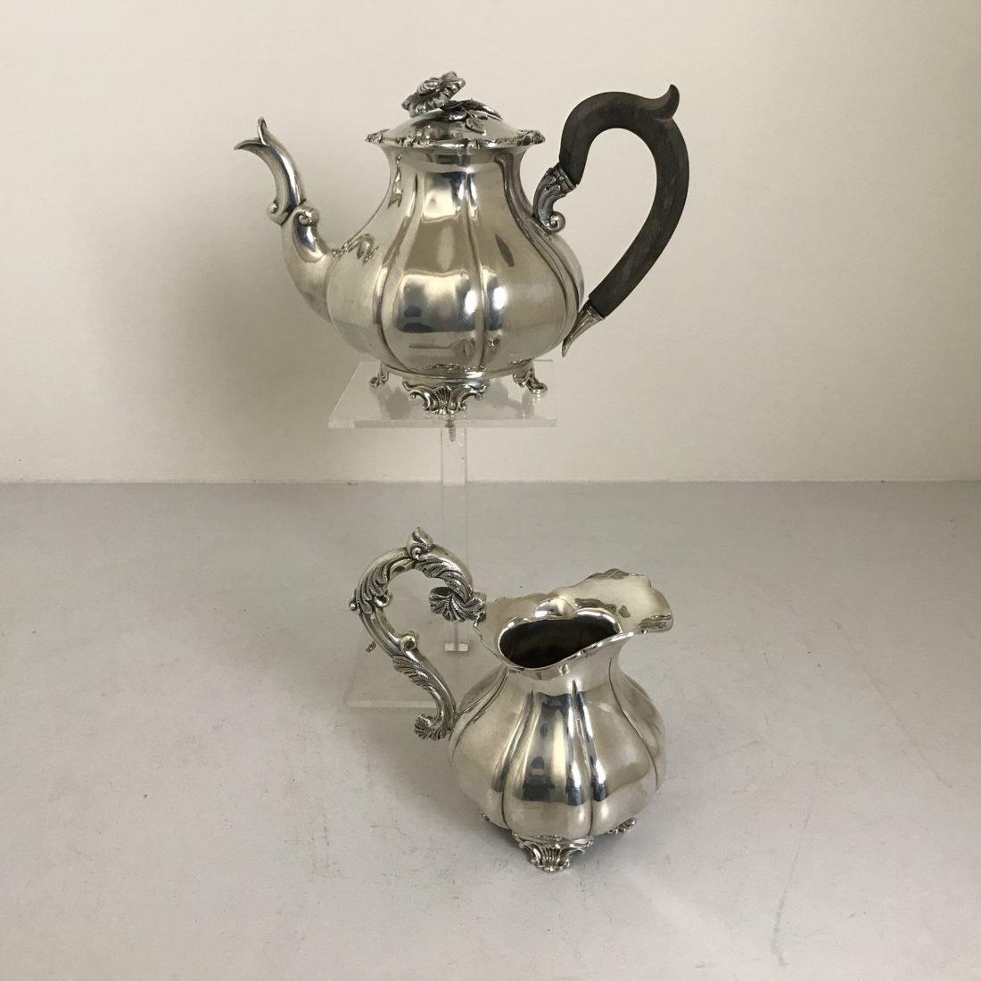 Een zilveren koffiekan + een zilveren melkkan, P.Pieterse, Amsterdam, 1852
