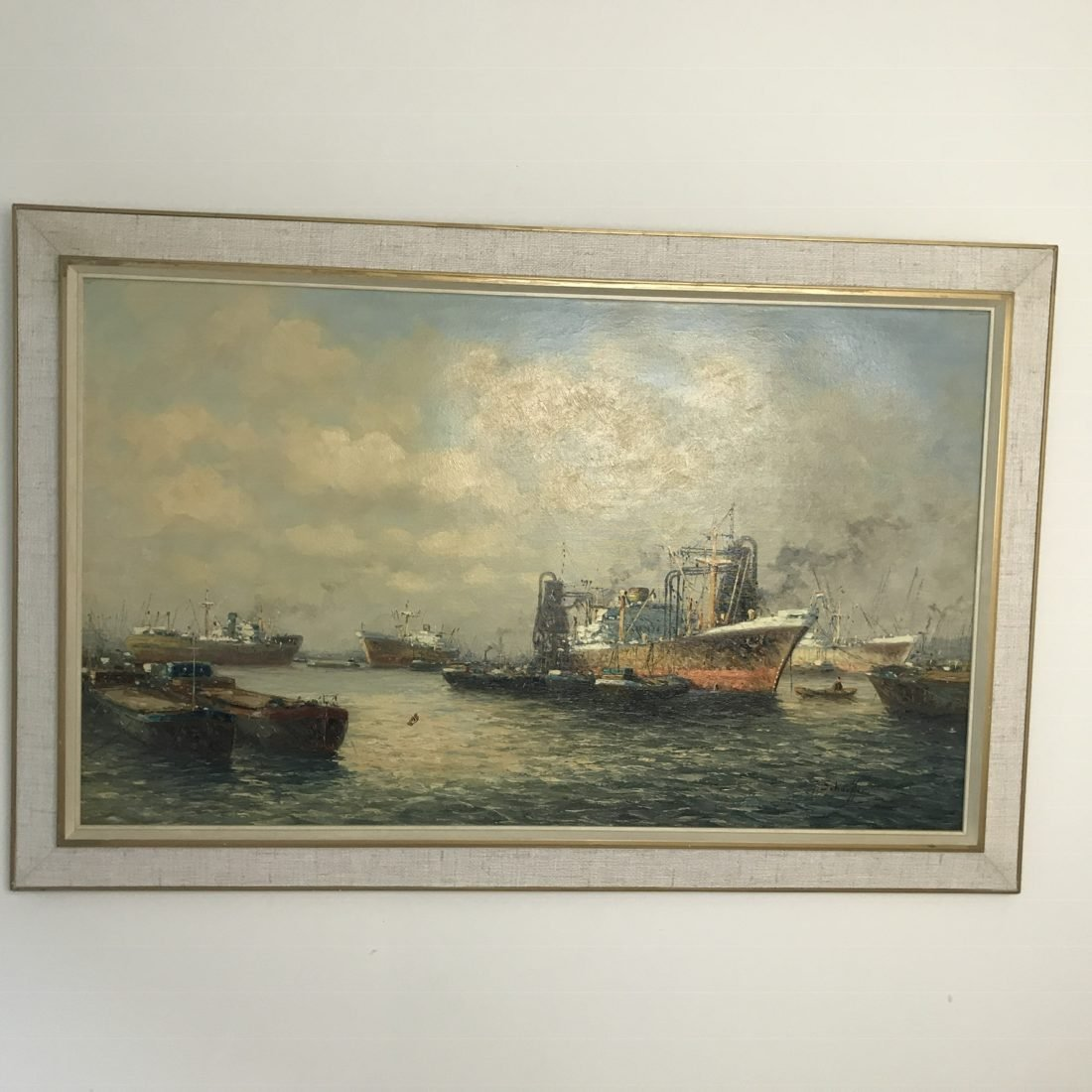 Jan Schaeffer, (1923), Zeehavengezicht, olieverf op linnen
