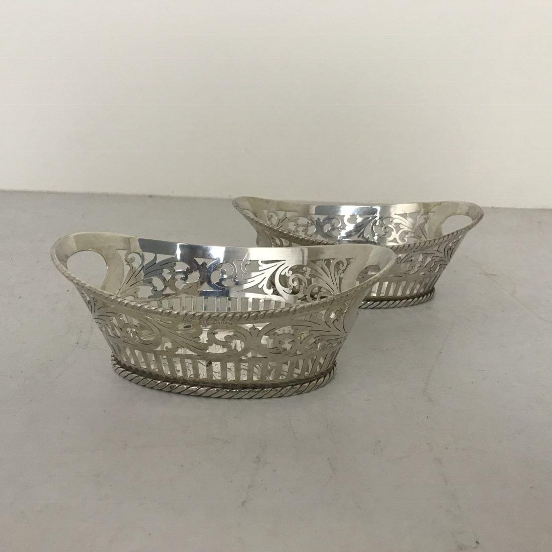 Twee sterling zilveren bon bon mandjes, Londen, begin 20e eeuw