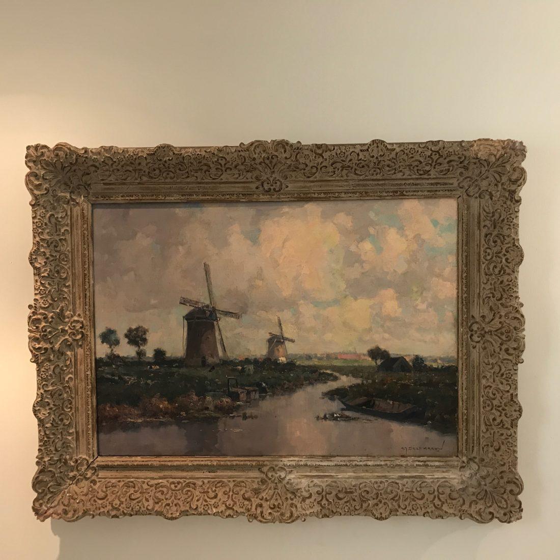 Hollands landschap met twee molens, Gerard Delfgaauw (1882-1947)