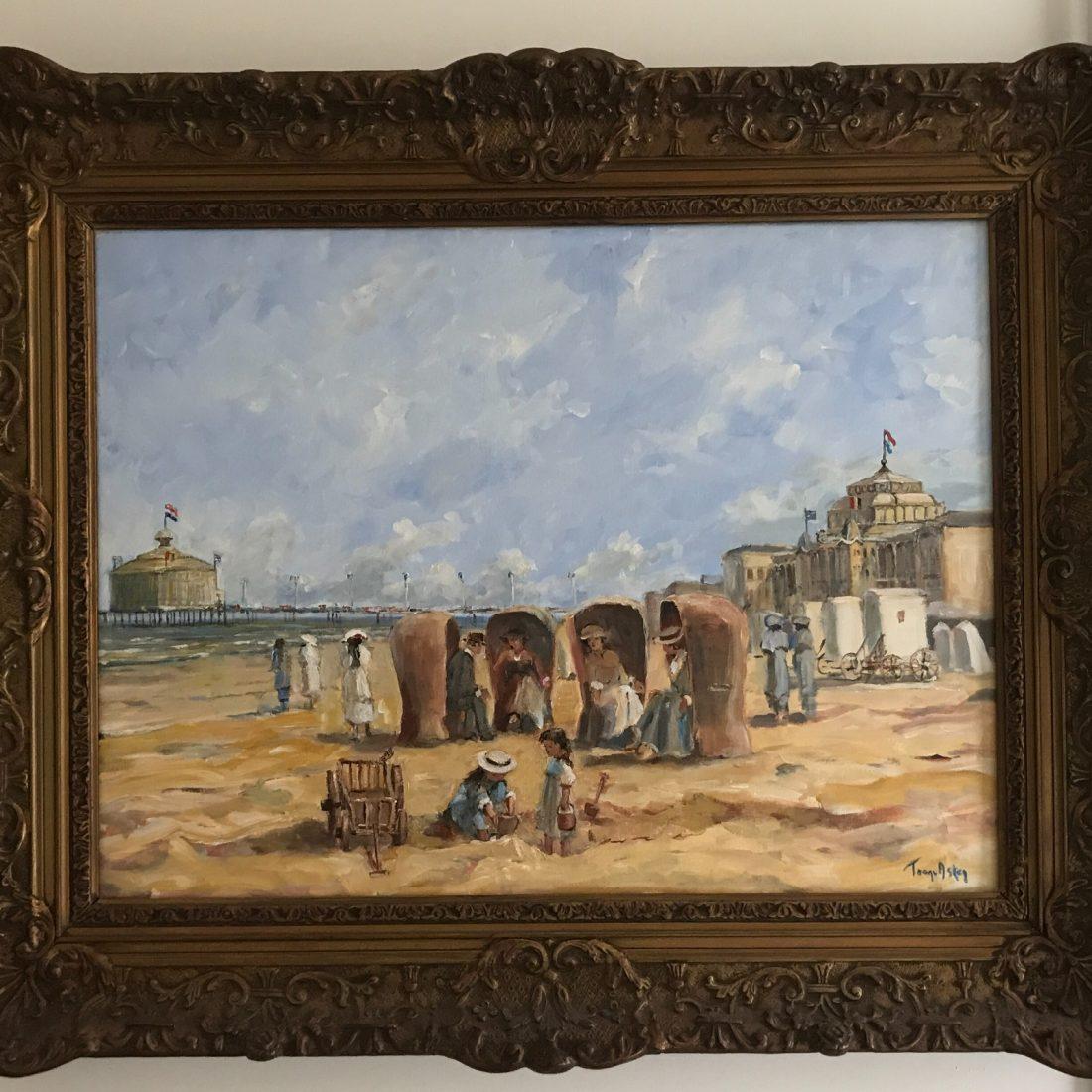 Familie met kinderen aan het strand, Antonius Franciscus van Asten (1949-)