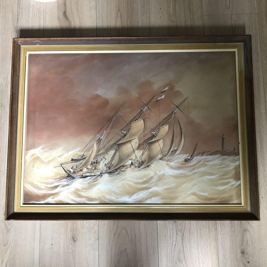 Zeilschepen op open zee, Jacob Spin (Amsterdam 1806 – Amsterdam 1875)