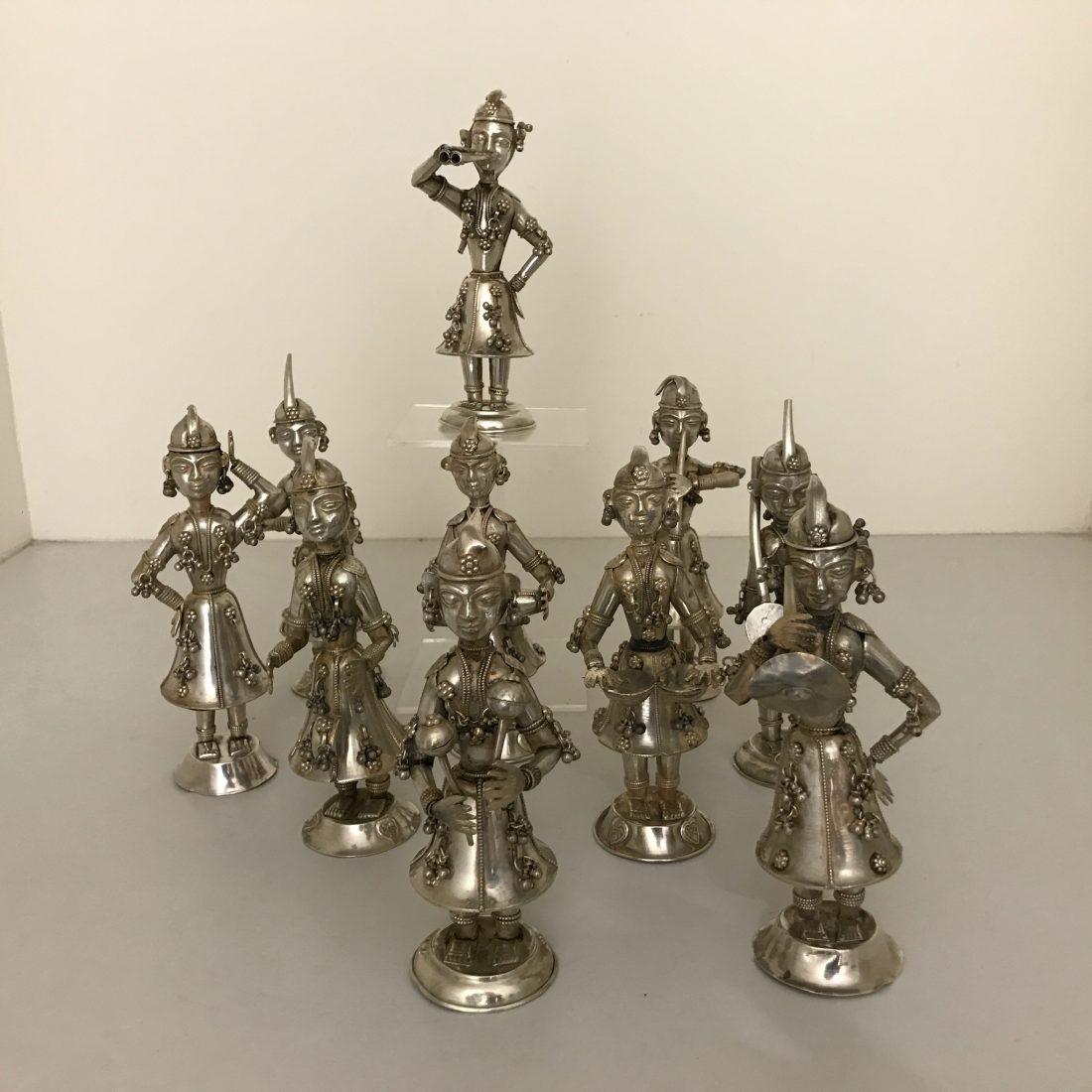 Diverse zilveren muziekkanten beeldjes 10 stuks, Azië,  begin 20e eeuw