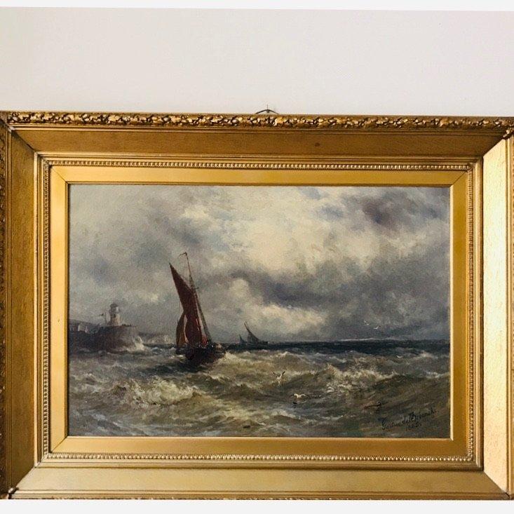 Gustave de Breanski, (1856 – 1898), Vissersboten op zee