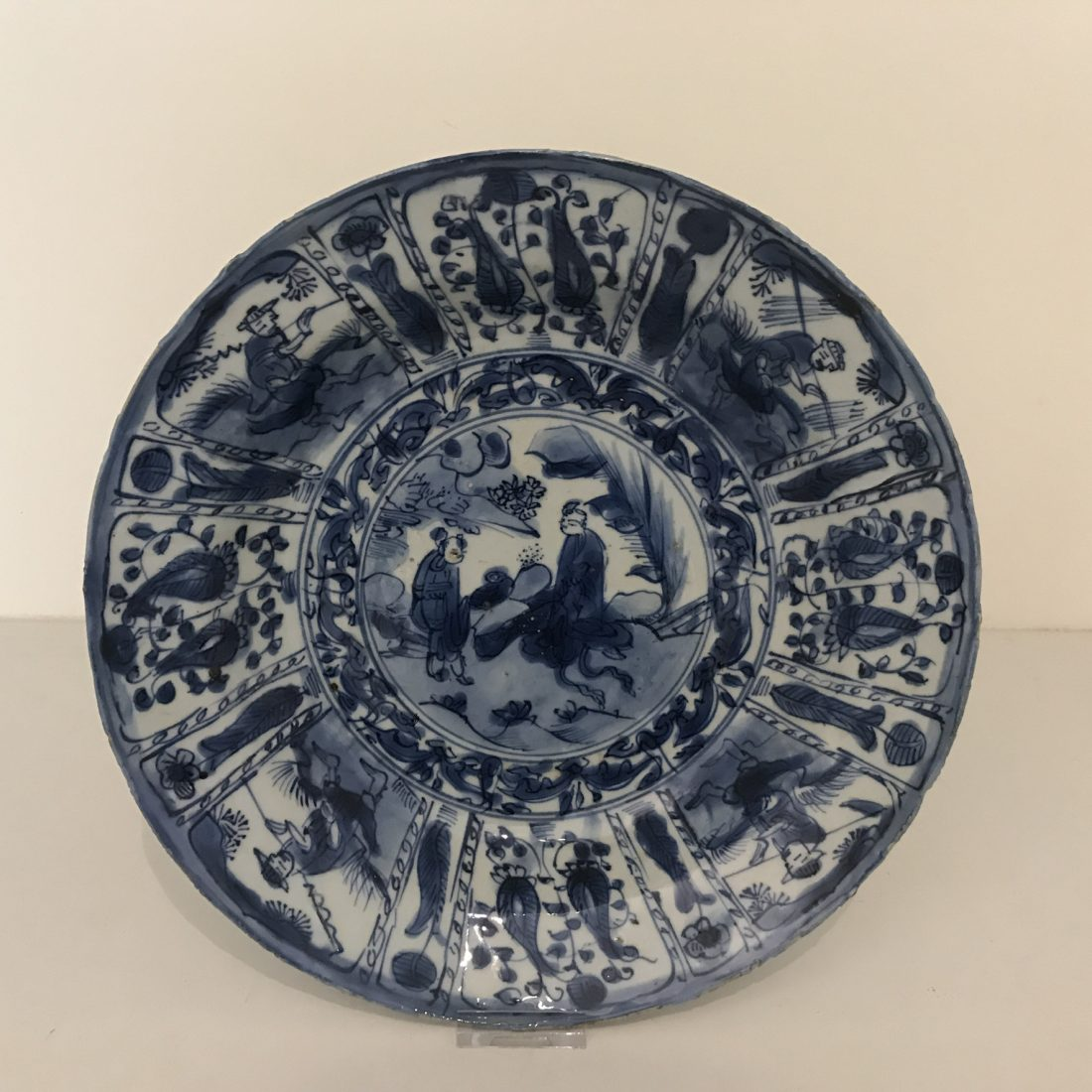 Blauw/wit porseleinen schotel, China, Wanli periode (1572 – 1620)