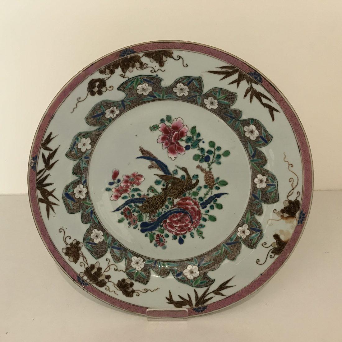 Famille rose porselein bord, China, Qianlong, 18e eeuw
