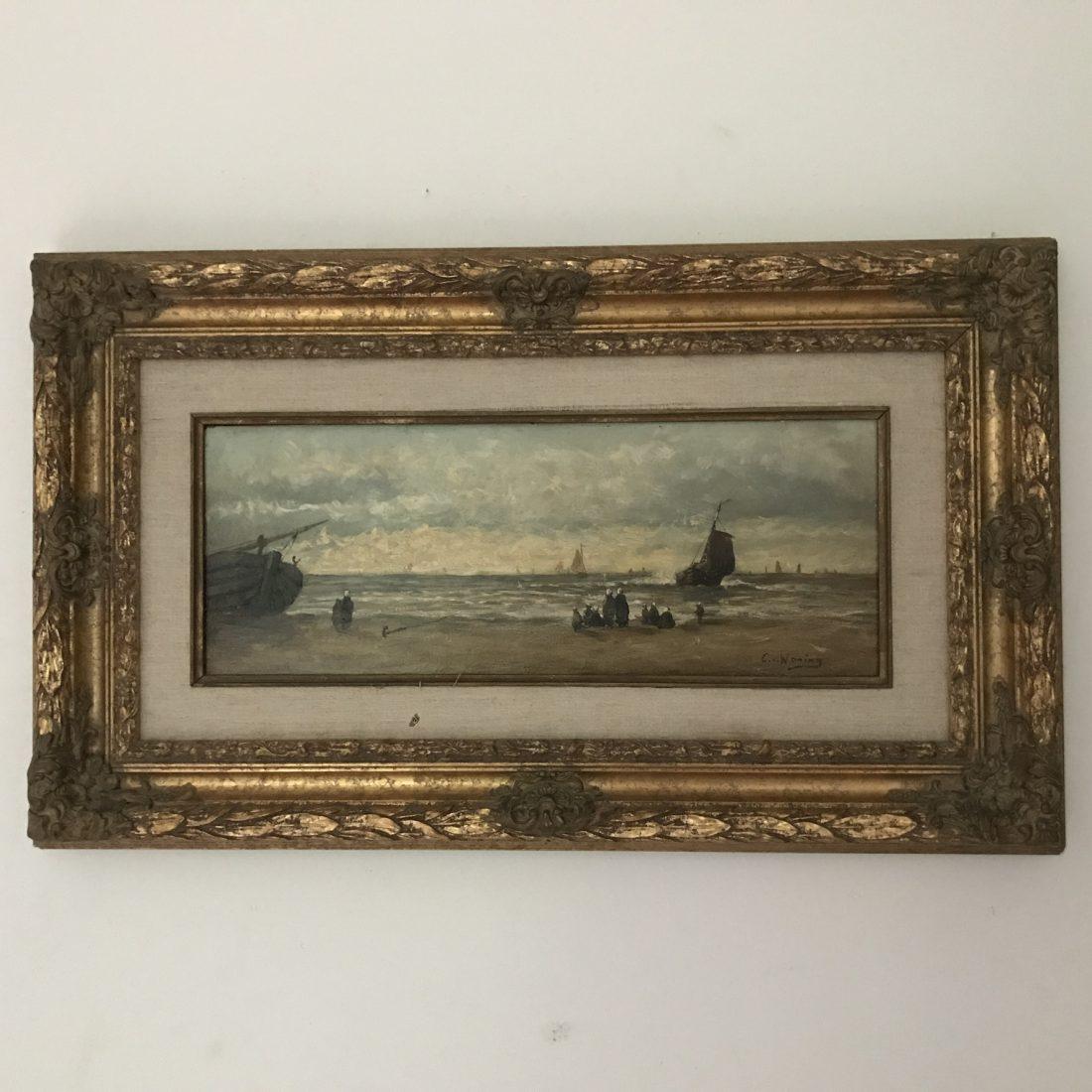 Cornelis Anthonij, Waning (1861 – 1929), Bomschuiten op zee met diverse Personen op het strand van Scheveningen.