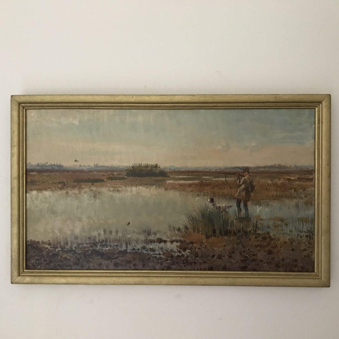 Jager met hond op open vlakte, Frans David Oerder (1867 – 1944)
