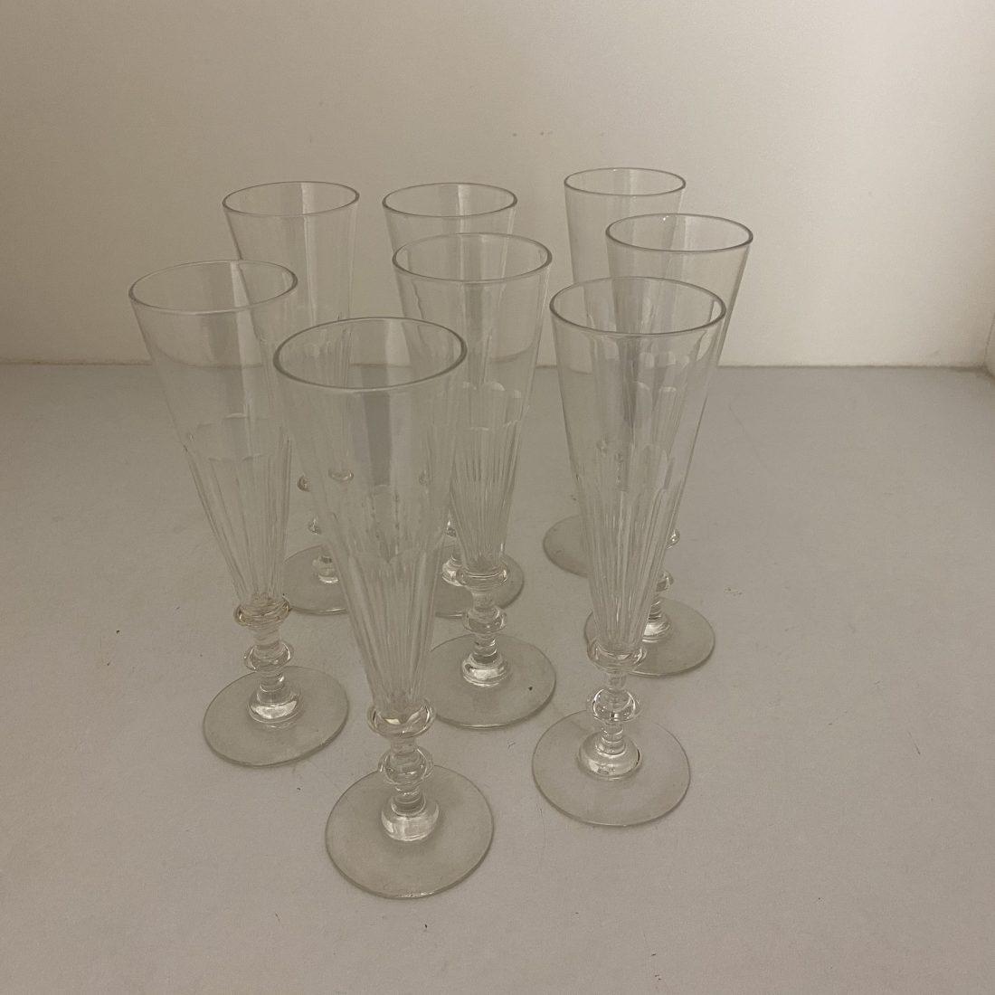 Kristallen Champagne Flute, acht stuks, Nederland, ca. 1920