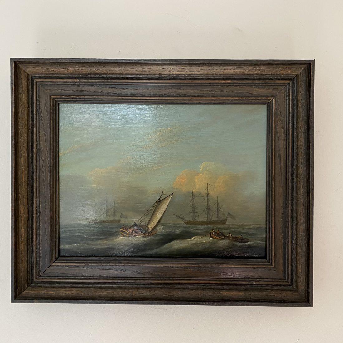 Diverse oorlogsschepen op open zee, Nederland, ca. 1850