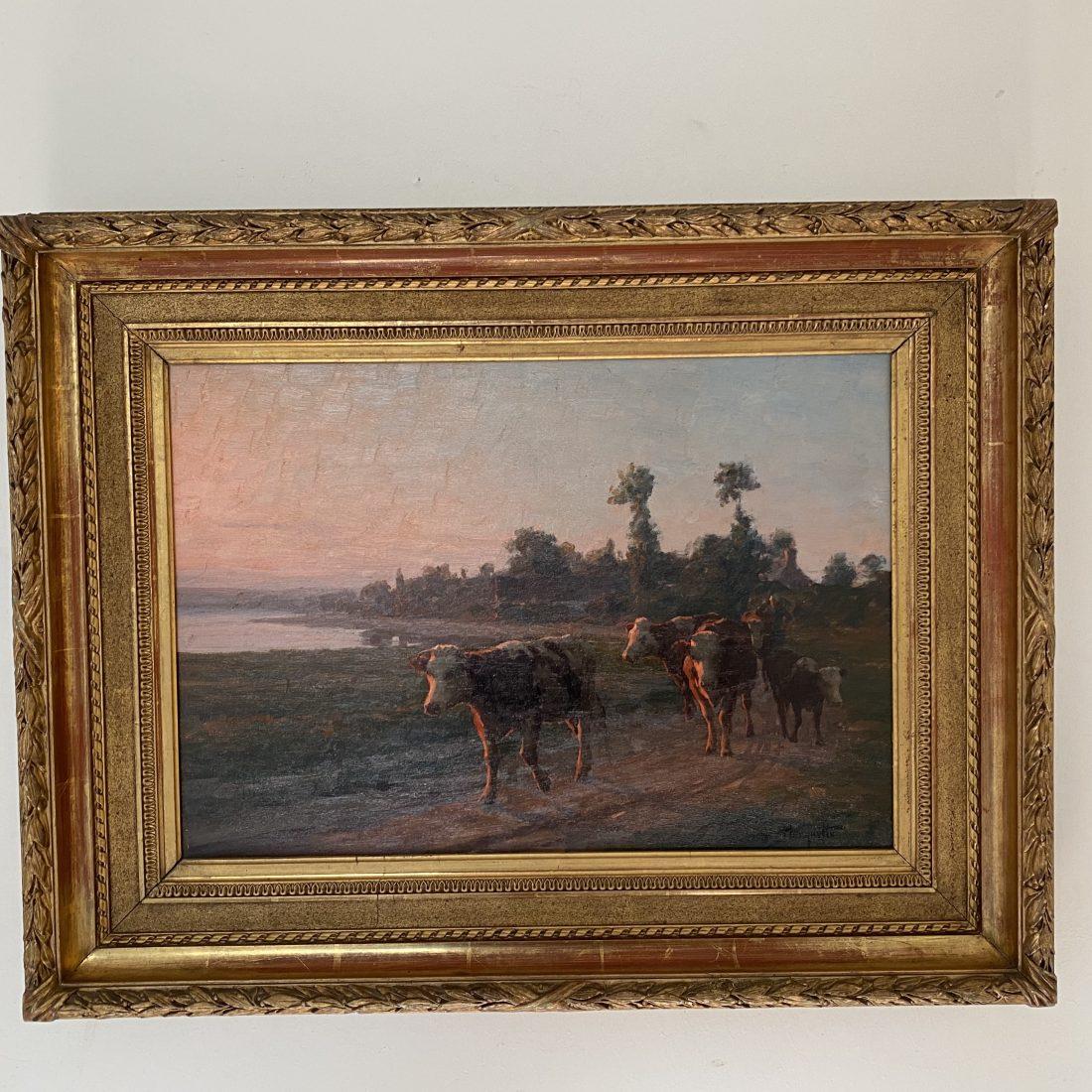 Koeien bij avondrood , Felix Planquette (1873-1964)