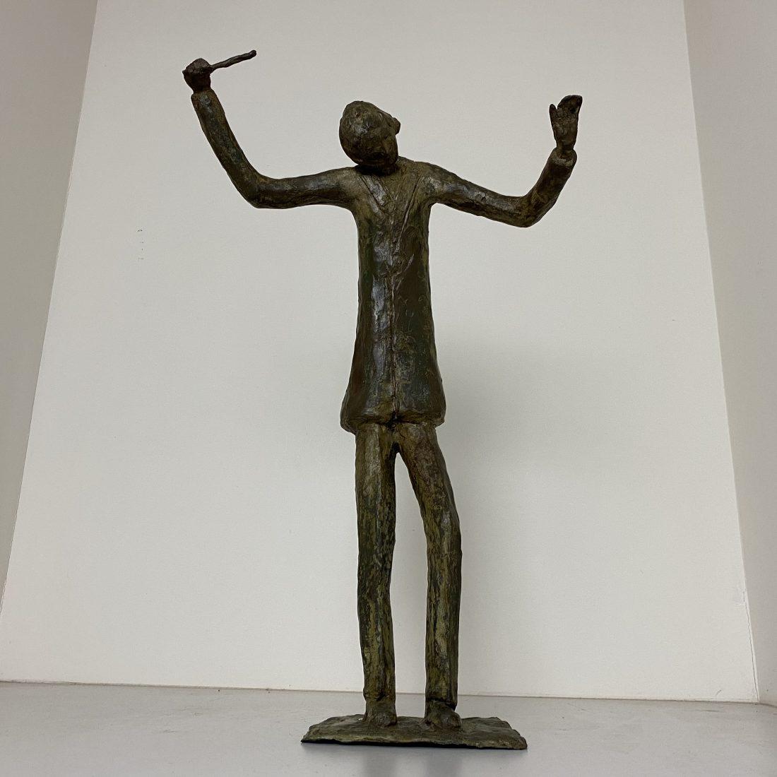 Groot bronzen beeld van een Dirigent, begin 20e eeuw