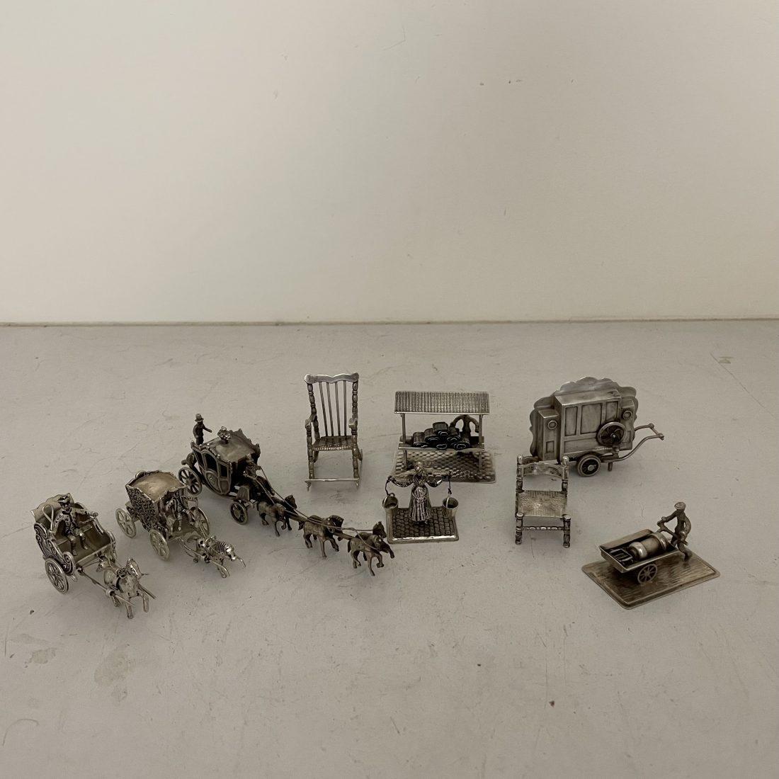 Een collectie van diverse zilveren miniaturen, Nederland, 19e/20e eeuw