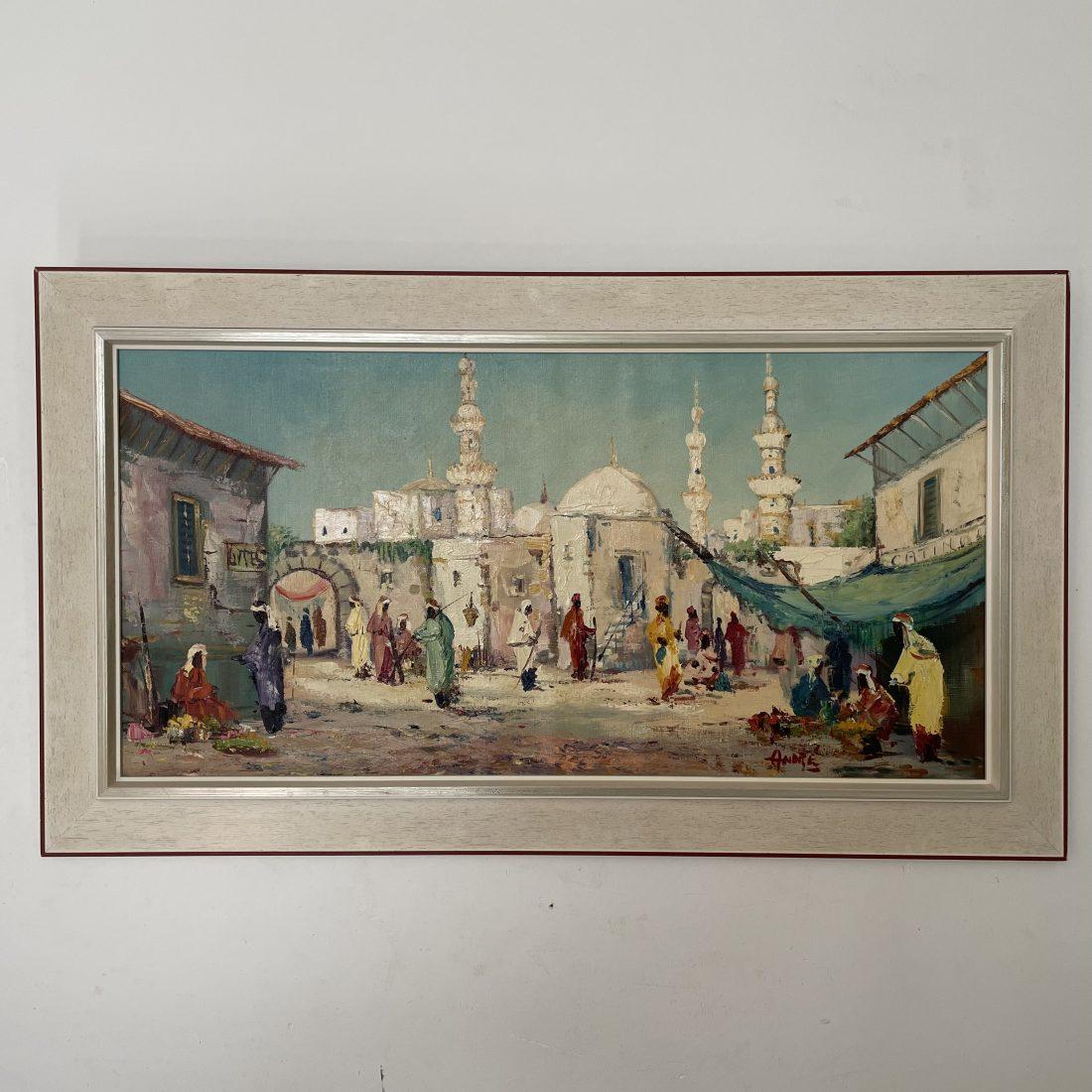 Arabische stad met diverse personen (20e eeuw)