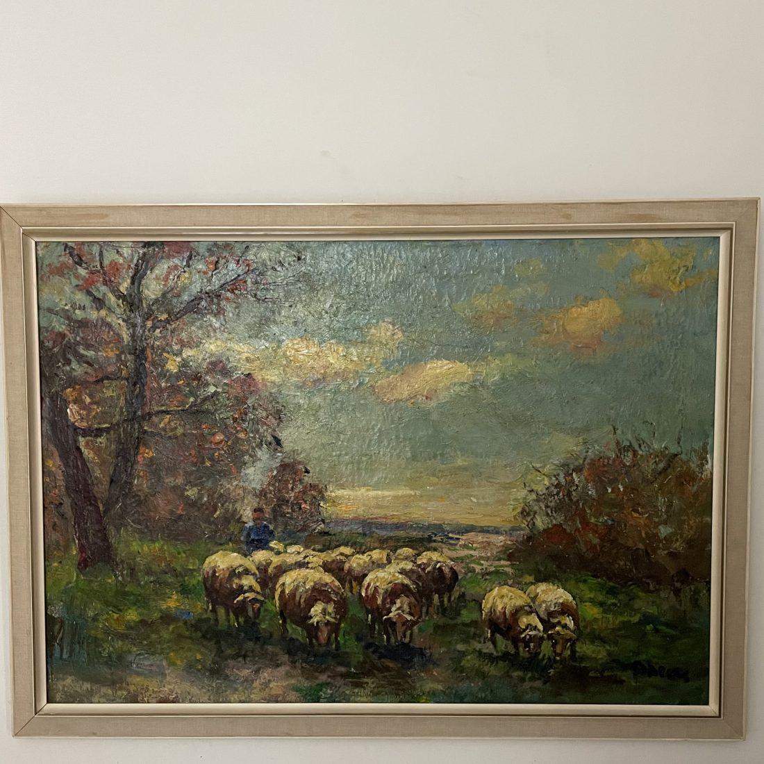 Boer met zijn schapen, Jacobus Doeser ( Utrecht 1884-1970 Heemstede )