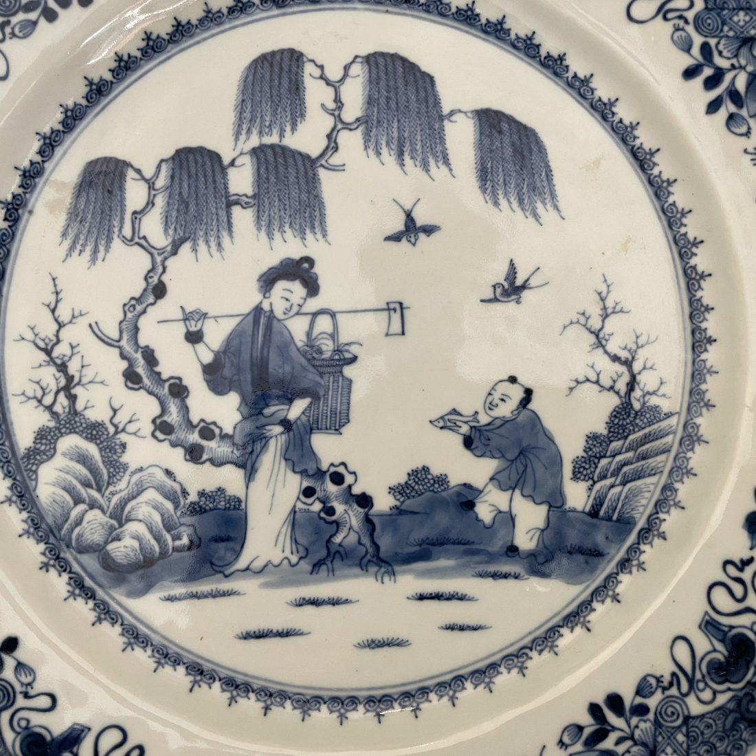 Blauw/wit porseleinen bord, China, Kangxi periode